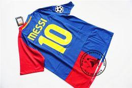 Wholesale Villas Jersey - Free shipping 2008-09 home messi xavi henry puyol david villa retro jersey match deatils player version