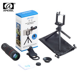 zoom pc Rebajas APEXEL 9 Unids / lote Telescopio Telefon Lens 18X con Lentes de Cámara Tri Zoom para Xs max 7 8 Plus Xiaomi al por mayor