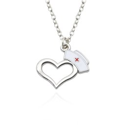 Wholesale Wholesale Nurse Gifts - Heart Pendants&Necklaces For Women Charm Pendants Stainless Steel Chains Nurse hat Choker Necklaces For Women Gifts Dropshipping