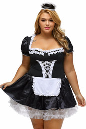 Misure di vestito francese online-S-6XL Black Satin e pizzo bianco Fancy Mini French Maid Dress Cosplay Costume sexy Maid Plus Size Costumi di Halloween per le donne