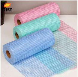 Lavare i piatti a mano online-Straccio di lavaggio del piatto di lavaggio della mano della fibra di bambù di 100pcs / Roll di ORZ e straccio strofinaccio di straccio di lavaggio, tessuto non tessuto anti grasso di Throwaway
