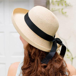 Wholesale Foldable Beach Hats For Women - Women's Straw Sun Hats with Bowknot Foldable Solid Hat for Holiday Travelling Sun Protection Wide Brim Hats Casual Style for Girls