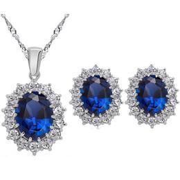 Colar de pingente de azul royal on-line-Rainha Design vermelho royal azul champanhe ouro austríaco cristal pingente de colar brincos moda conjunto de jóias