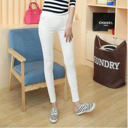 Abrigos largos de mujer online-Recubierto Otoño Moda Lápiz Jeans Mujer Color caramelo Media cintura Cintura completa Cremallera Slim Fit Skinny Mujer Pantalones Bolsillos