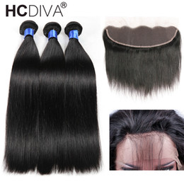 Wholesale Straight 28 Inch Hair - 8A Mink Brazilian Straight Hair 13x4 Lace Frontal Closure with Bundles Non-Remy Human Hair with Ear to Ear Lace Frontal Closure Free Part