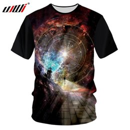 star galaxy s Promo Codes - UJWI Black Tshirt Men 2018 Summer Tops Galaxy Space Star Printed 3d T-shirts Male Hip Hop Loose Slim Casual T Shirt Tees Unisex