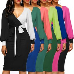Wholesale ladies midi length dresses - 6 Colors Women V-neck Lantern Long Sleeve Panelled Dress Lady Patchwork Color Fashion Sexy Dress10pcs AAA691