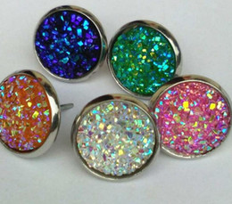 Wholesale Glass Cabochon Earrings - Mermaid Scales Stud Earrings Hot Style 12mm stainless steel Base Glass Cabochon Fine Jewelry For Women Party Gift