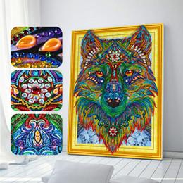Diy 5d diamante pintura lobo cabeça do ponto da cruz mosaico diamante bordado needlework padrões pinturas de strass decoração da sua casa de Fornecedores de pinturas a ar