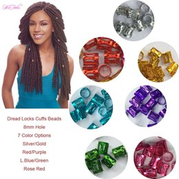Haar-Manschetten 100 PC / Los #Golden #Silver mischte colorfull Dreadlock-Korne justierbare Haar-Zöpfe Manschetten-Klipp 8MM Loch-Mikro freie Ring-Korne von Fabrikanten