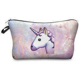 Wholesale rainbow pencils - Fashion Makeup Bag Coins Purses Unicorn Printed Handbags Children Pencil Pouch Girl Makeup Bags Women Rainbow Horse Cosmetic Cases Gifts