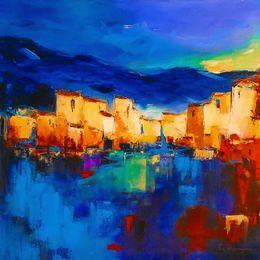 Moderna pittura a olio di tramonto online-YJ ART-sunset-over-the-village-Unframed Modern Canvas Wall Art per la casa e la decorazione dell'ufficio, pittura a olio, pittura animale, pittura del telaio