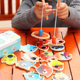 Wholesale Box Wooden Fish - NEW 14 Fishes + 2 Fishing Rods Wooden Children Toys Fish Magnetic Pesca Play Fishing Game Tin Box Kids Educational Toy Boy girl