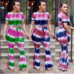Wholesale lady summer short legging - 2018 summer womens pants suits Hot selling print round neck short-sleeved T-shirt wide leg pants two piece Fashion casual ladies set Contras