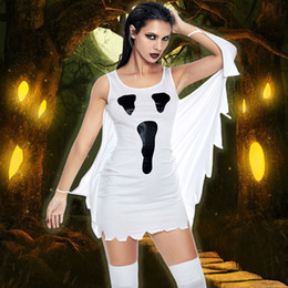 2019 trajes fantasia mascarada 2018 Outono Mulheres Halloween Party Costume Vestido Cosplay Scream Fantasma Impressão Fancy Dress Adulto Traje Role Play Masquerade Outfit trajes fantasia mascarada barato