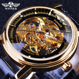 Wholesale Gear Display - Winner 2017 Professional Series Transparent Golden Case Diamond Display Gear Skeleton Mens Top Brand Luxury Mechanical Watches