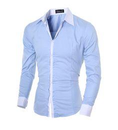 Wholesale Dress Shirts Xxl - Men Shirt long sleeve Brand 2017 male slim fit Solid dress shirt White hawaiian men formal mens shirts XXL ,G7453