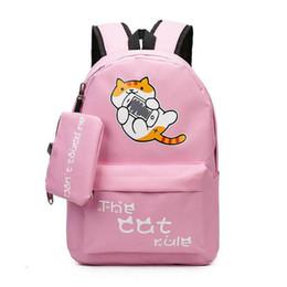 2019 mochila de personaje mochila Los niños de dibujos animados gato lienzo hombro mochila estudiantes de secundaria mochilas de escuela de alta capacidad mochila de viaje de ocio