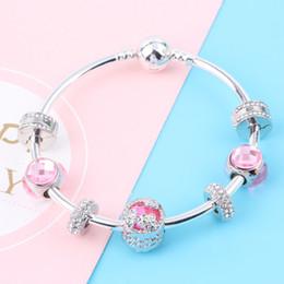 231f671636c8 Couqcy nueva serie rosada de los granos DIY conveniente para las mujeres  pulsera joyería encanto europeo joyería de alta calidad del regalo