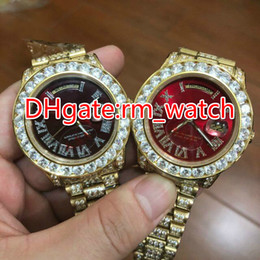 Wholesale Watch Big Size Men - Big diamonds bezel men watch big size 40mm wrist watch hip hop rappers full iced out gold case red face dial automatic watch
