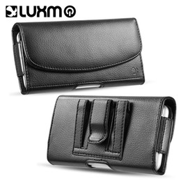 Wholesale Iphone Money Purse - Waist Bag Black Leather Purse Case Cover with Holster Belt Money Pocket Universal for iPhone Samsung LG 5.5 6.3 inch Phone