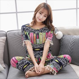 f9f9cd6f68 New 2018 Chinese style womens pajamas twinset with middle pants sweet girl  printing fringe sleepwear colorful casual loungewear