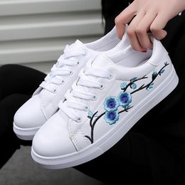 7c85fad7e0d2e women shoes 2018 new fashion PU Leather chinese traditional embroidery  leisure female Lace Up flower flat shoes woman sneakers