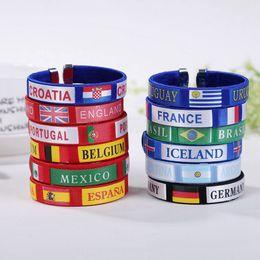 Wholesale Colorful Soccer - World cup Bracelets Sports Soccer Fans Souvenirs Spain Germany Brazil England France Flag Knitting PVC Bracelet Colorful Jewelry Wholesale