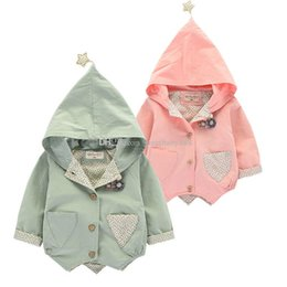 Wholesale Korean Kids Jacket Wholesale - Children Girls Five-pointed star Tench coats Kids hooded Outwear Korean Coat Autumn long sleeve Tops Jackets baby clothes C2755