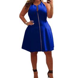 fe6f2c60fe8 casual front reißverschluss kleider Rabatt Sommer Frauen Sexy Kleid  Sleeveless Zipper Front Party Kleider Plus Größe