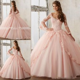 Wholesale maternity t shirt baby - Long Sleeve Baby Pink Ball Gown Prom Dresses V Neck Lace Appliques Long Sweet 16 Evening Quinceanera Gowns Vestidos De