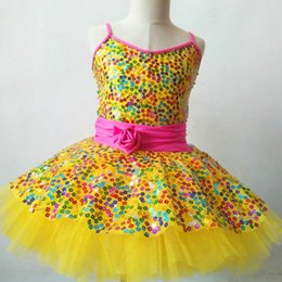 tutu dresses adults Coupons - Yellow Sequined Tutu Ballet Dress For Girls Children Salsa Swan Ballet Mujer Kids Adult Costumes Ballerina Skating Tulle Dress