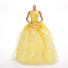 Wholesale barbies dolls dresses - Princess Dress Gown Yellow Dress For Barbie Doll Dress Girl Pretend Play Baby Girl Toy Gift Doll Accessories