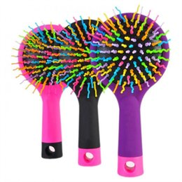 Massaggio arcobaleno online-keyouly Rainbow Pettine Spazzole per capelli Massaggio anti-statico Pettine con uno specchio posteriore 3 colori Nero Rosa Viola nuovo design