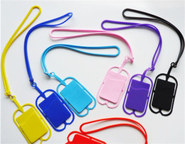 Wholesale Silicone Id Card Holder - 100pcs DHL Universal Cell Phone Lanyard Card Holder Silicone Wallet Case Credit ID Card Bag Holder Pocket wallet card holder with Lanyard