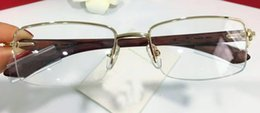 Wholesale Wood Framed Optical Glasses - fashion designer optical glasses 8101031 square half-frame transparent lens wood legs vintage classic style clear eyewear
