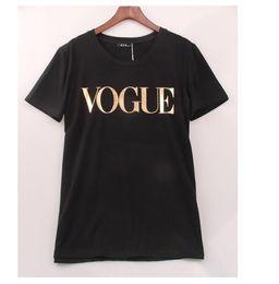camisetas de mujer de oro Rebajas Moda Golden VOGUE camisetas para mujer Hot Letter Print camiseta manga corta Tops más tamaño camiseta femenina camisetas
