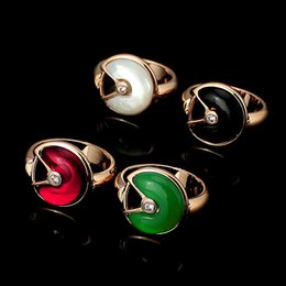 Wholesale Lucky Ring Red - C ring Lucky France Lucky character Amulette rings Classic logo Jewelry Women man brand crystal shell Guard rings