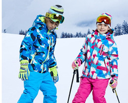 2018 New Free Shipping Boys girls Ski Suit Waterproof Windproof Snow Pants+ Jacket a Set Winter Sports Child Thickened Clothes 9491b1db4