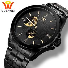 b6c1c7f37a9 OUYAWEI Negro Metal Acero Relojes Automáticos Para Hombre de la Marca de Lujo  Esqueleto Diamante Relojes Mecánicos Relojes de Los Hombres Relogio