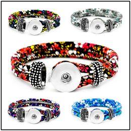 Wholesale man woman watches sets - 18mm Leather Snap Strands Button Bracelet Floral Button Bangle Wrist Watches Noosa DIY Jewelry for Women Men