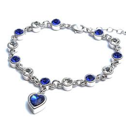 Wholesale Heart Shaped Hook - Luxury CZ Jewelry Light Blue Heart shape Crystal 925 Sterling Silver Charm Bracelet Bangle For Women