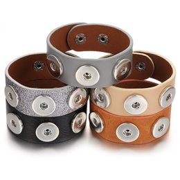 Discount three ring bracelet - New Noosa Snap Jewelry Leather Bracelets for 18mm Snap Jewelry Vintage Three Buttons Snaps Bracelets Wide Leather Bracelet Button Jewelry