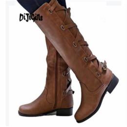 Plattform knie hohe stiefel wohnungen online-DIJIGIRLS 2018 große Größen 35-43 Sexy flache Schuhe kniehohe Stiefel Frau Plattform Winter Damenschuhe Fashion Boot weiblich W307