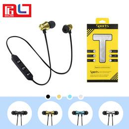 Wholesale bt earphones - BST-M10 Magnetic Bluetooth Earphone Wireless Running Sport Headphones Earphones With Mic Earbuds Bass Stereo BT 4.1 For iphone X