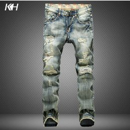 Wholesale worn out jeans - KH Men's Fashion Skinny Jeans Mens Broken holes Straight Worn-out Jeans Casual Personality Frayed Denim Pants Pencil Trousers