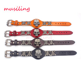 Wholesale Christmas Decorations Traditional - Leather Bracelets Skull Watch Watchband Design Charms Bangle Adjustable Punk Rock Hiphop Decorations Amulet Fashion Jewelry