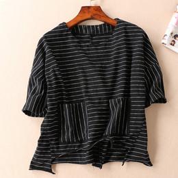 Wholesale Black Hippy - Soft Skin Feel Comfortable Double Pocket Horizontal Stripes Summer Women Short Sleeved Shirt Gosha Delta Sigma Theta Hippy
