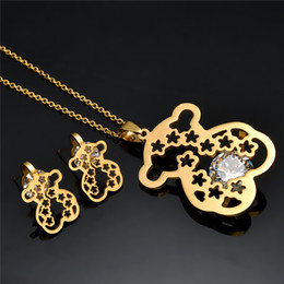 Wholesale cloisonne enamel pendants - Hollow Fashion stainless steel women 18k gold animal pendant charms jewelry necklace earring set of party gift cute style bears