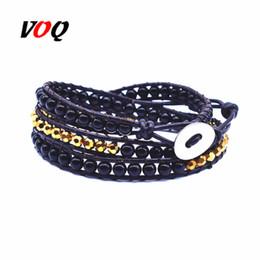 Кружевной браслет онлайн-New Arrival 3 Laps Chakra Bracelet Jewelry Handmade Leather Wrap Bracelet Multi Color Beads Natural Stone Men Women Hot